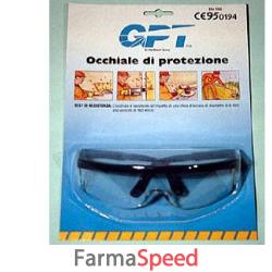 occhiale di protezione con lente incolore certificato secondo la norma europea en 166 lente mono pezzo con ripari laterali integrati e astine regolabili lente in policarbonato