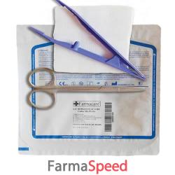 set per rimozione suture confezionato in blister rigido, contenente forbice, pinza e garza