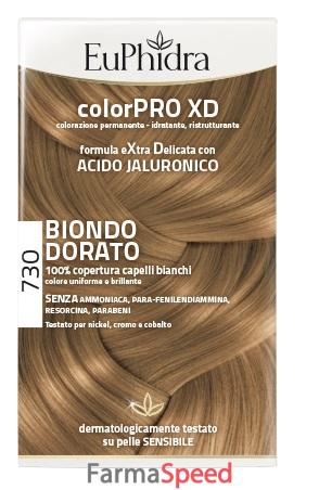 euphidra colorpro xd 730 biondo dorato gel colorante capelli in flacone +  attivante + balsamo + guanti. Sconto 3% c871b4d31296